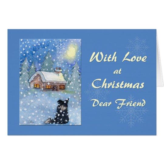 Christmas card friend, border collie dog