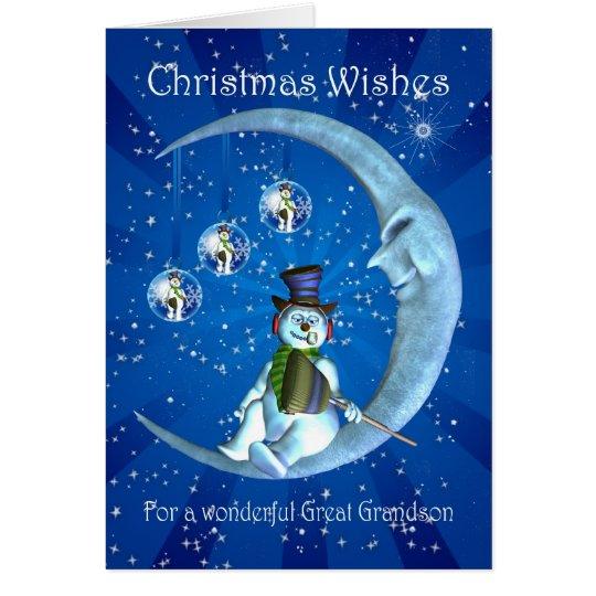 Christmas card, Great Grandson Christmas, Snowman Card