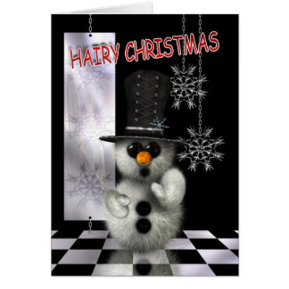 Christmas Card - Hairy Christmas Snowman - Good Fo