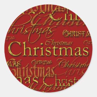 Christmas Card Holiday Season Envelope Seals Round Sticker