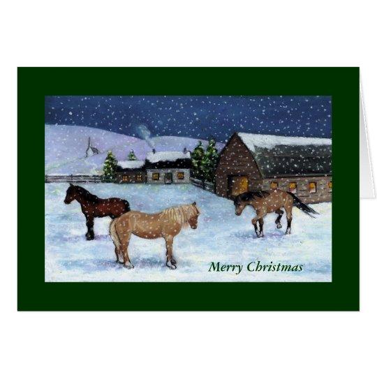 CHRISTMAS CARD: HORSES, SNOW: ART CARD