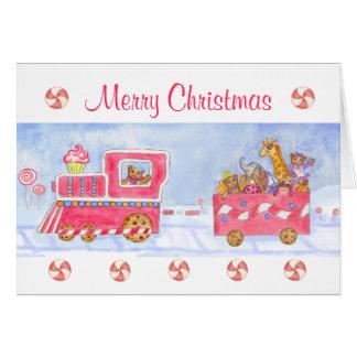 Christmas Card Merry Christmas Train Candy