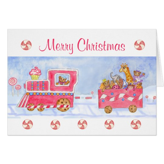 Christmas Card Merry Christmas Train Candy