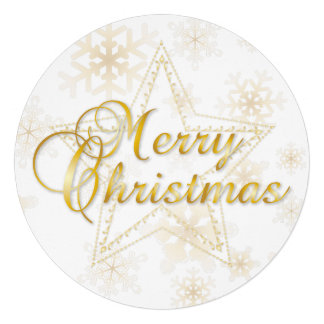 Christmas Card Ornament - gold - Round Card