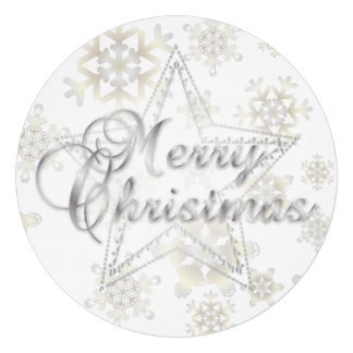 Christmas Card & Ornament - Silver - Round Card