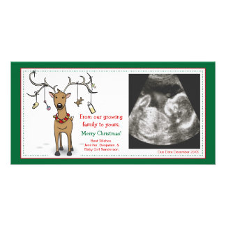 Christmas Card Pregnancy Announcement- Reindeer Personalised Photo Card