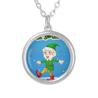 Christmas card round pendant necklace