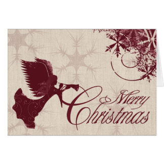 Christmas card Rustic Burlap Christmas Angel Red