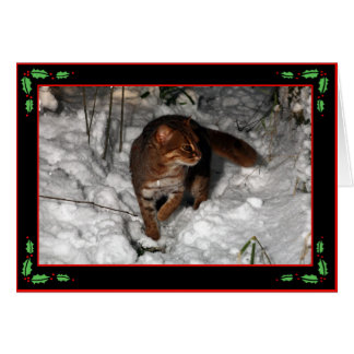 Christmas card - rusty spotted cat (black)