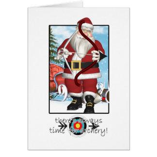 Christmas Card, Santa Playing Archery Card