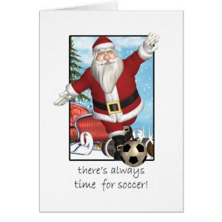 Christmas Card, Santa Playing Soccer Greeting Card