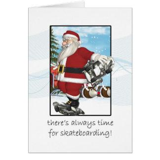 Christmas Card, Santa Skateboarding Greeting Card