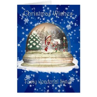 Christmas card, Sister Christmas, Elf in a snow gl Card