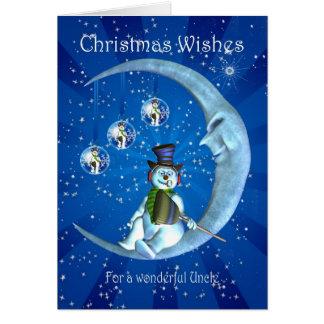 Christmas card, Uncle Christmas, Snowman on the Mo