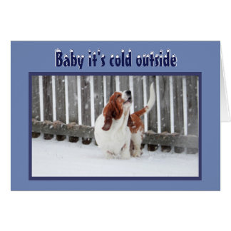 Christmas Card w/Basset in Snow & Fireplace & Tree