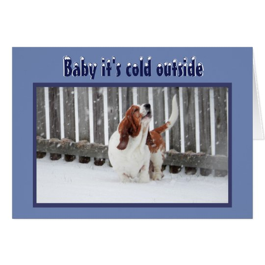 Christmas Card w/Basset in Snow & Fireplace &