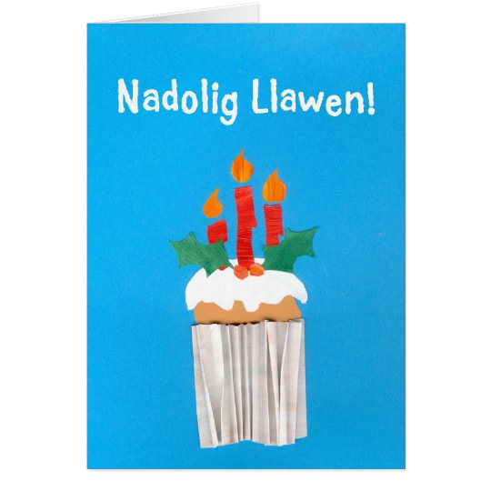 Christmas Card, Welsh, Cupcake with Candles Card