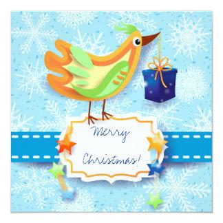 Christmas card with bird 13 cm x 13 cm square invitation card