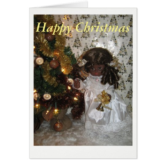 Christmas card with black angel