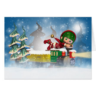 Christmas card with cute little elf on train