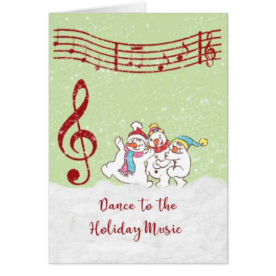 Christmas Card with Dancing Snowmen/Musical Notes