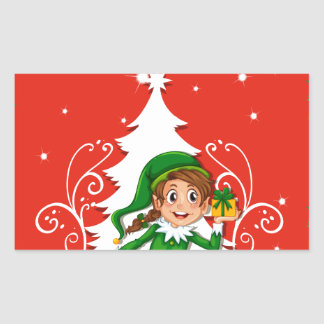 Christmas card with elf rectangular sticker
