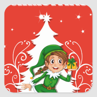 Christmas card with elf square sticker
