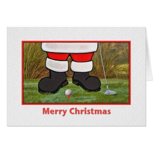 Christmas Card with Golfing Santa