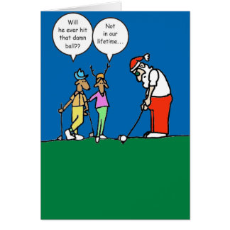 Christmas card with golfing Santa illustration