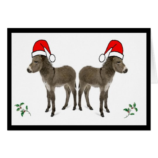 Christmas card with holly and donkey