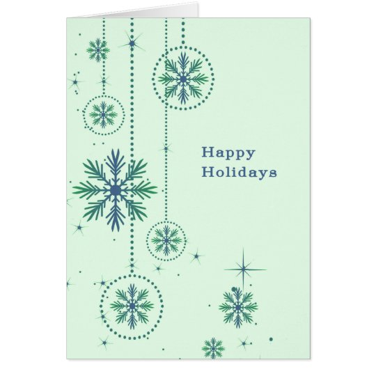 Christmas Card with Large Snowflakes Lt. Green