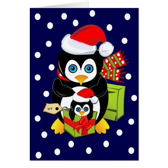 Christmas Card with Penguins and Polkadots