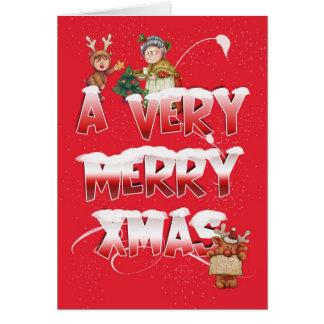 Christmas Card With Reindeer Mother Christmas