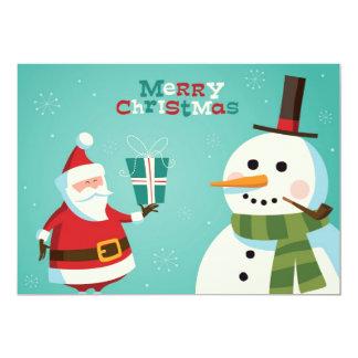 Christmas card with Santa and snowman 13 Cm X 18 Cm Invitation Card