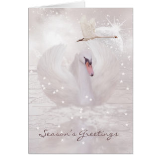 Christmas Card With Swan - Fantasy Swan Art