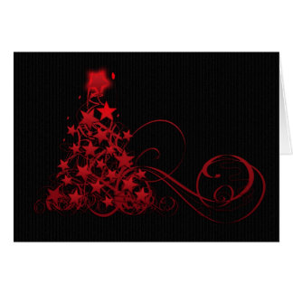 Christmas Card With Swirly Tree And Stars