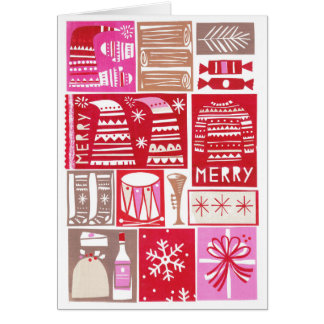 Christmas card with trendy papercut images