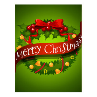 Christmas card with wreaths decorations postcard