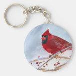 Christmas Cardinal Basic Round Button Key Ring