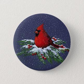 CHRISTMAS: CARDINAL: BIRD: ART 6 CM ROUND BADGE