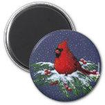 CHRISTMAS: CARDINAL: BIRD: ART 6 CM ROUND MAGNET