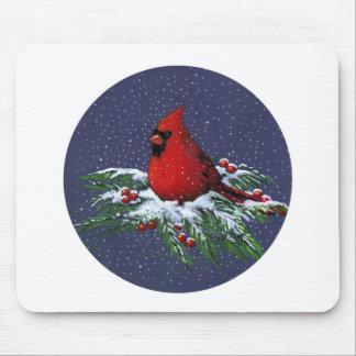 CHRISTMAS CARDINAL BIRD ART MOUSEPAD