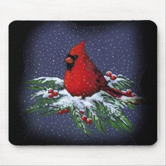 CHRISTMAS CARDINAL BIRD ART SNOW MOUSEPADS