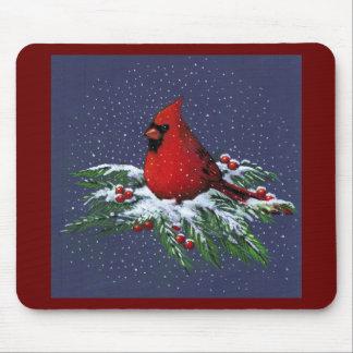 CHRISTMAS CARDINAL BIRD ART SNOW MOUSEPAD