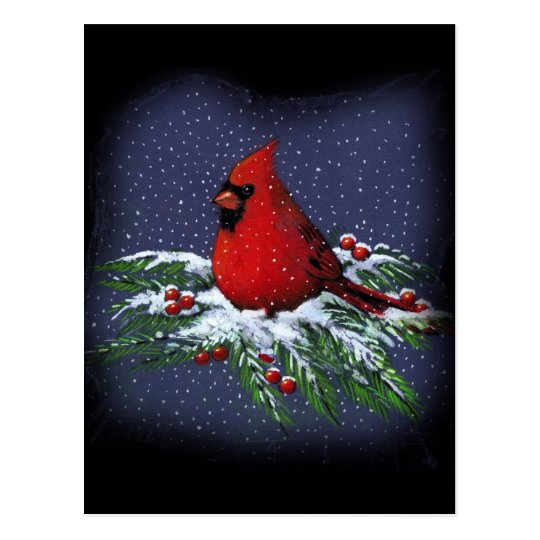 CHRISTMAS CARDINAL: BIRD: ART: SNOW POSTCARD