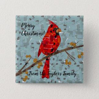 Christmas Cardinal bird collage 15 Cm Square Badge