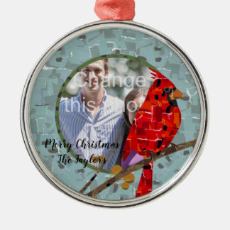 Christmas Cardinal bird collage Christmas Ornament