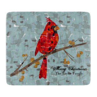 Christmas Cardinal bird collage Cutting Board