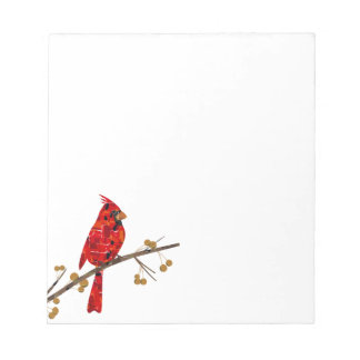 Christmas Cardinal bird collage Notepad