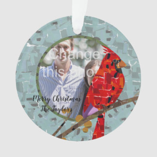 Christmas Cardinal bird collage Ornament